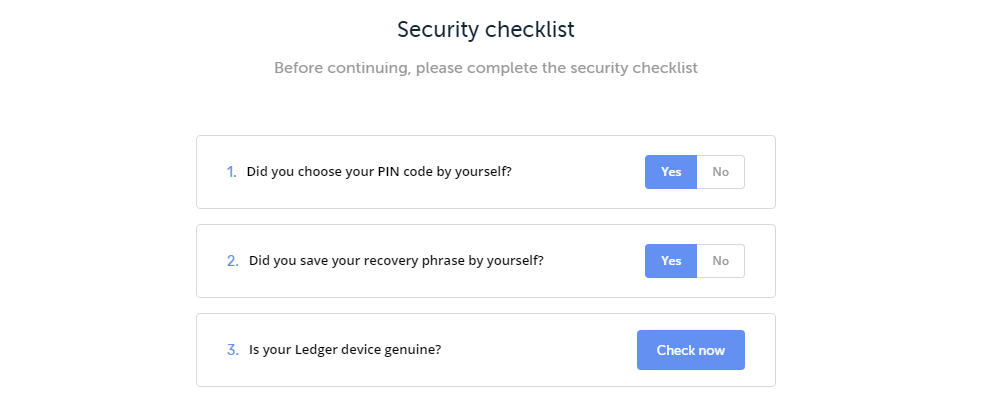 Ledger Live Sicherheits Checkliste