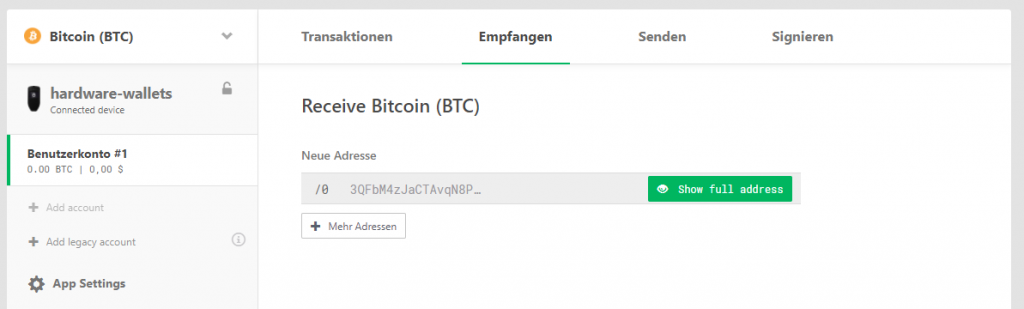 Generate Bitcoin reception address
