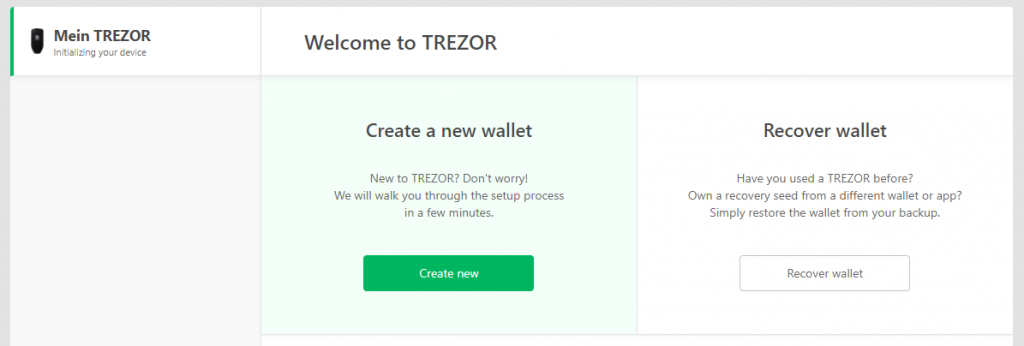 TREZOR Set up wallet