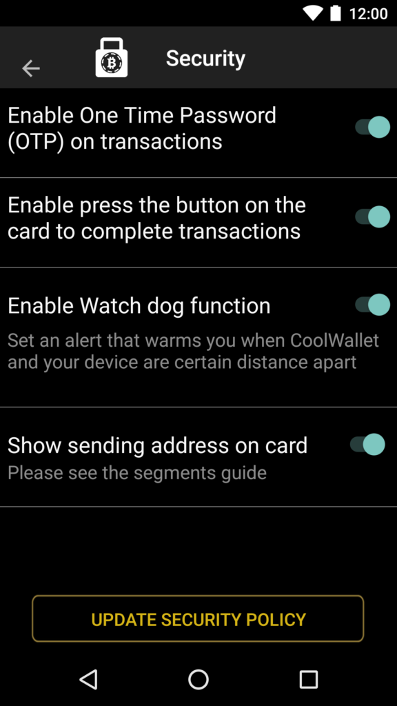 CooLWallet security settings