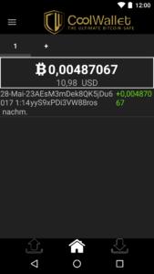 CoolWallet Bitcoins empfangen