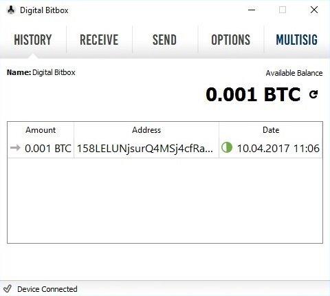 Digital Bitbox Bitcoins erhalten abgeschlossen