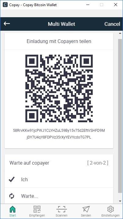 Digital Bitbox MultiSig Wallet Copay teilen Copay