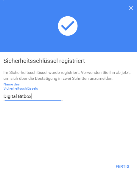 Digital Bitbox U2F google fertig