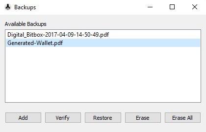 Digital Bitbox eigene Wallet auswählen