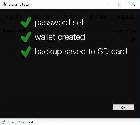Digital Bitbox einrichten fertig