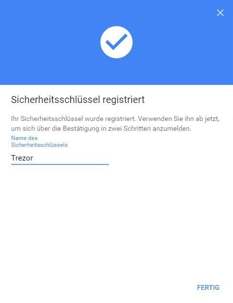 Trezor U2F Registriert