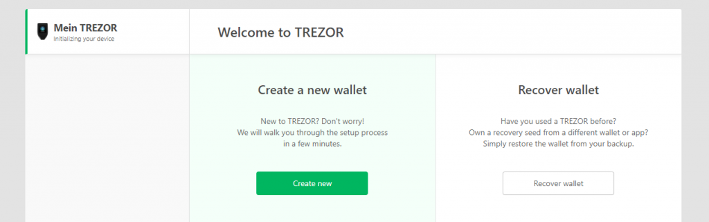 TREZOR set up and create wallet
