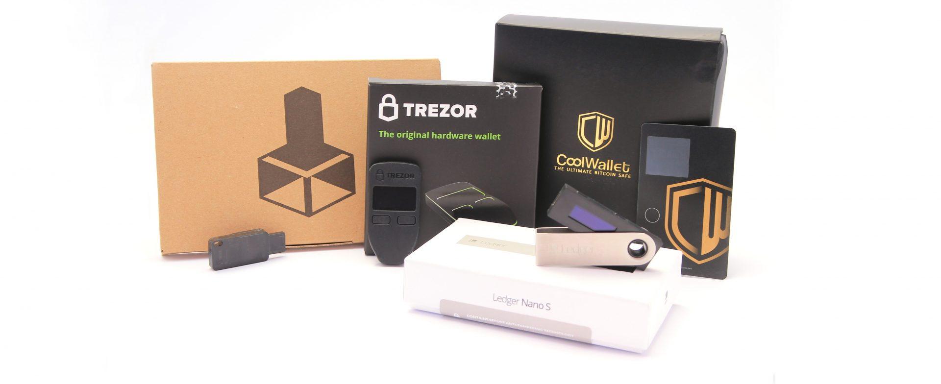 Hardware Wallets Banner mit Digital Bitbox, Trezor, CoolWallet und Ledger Nano S