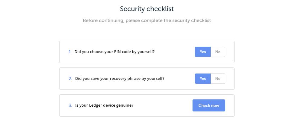 Ledger Live Security Checklist