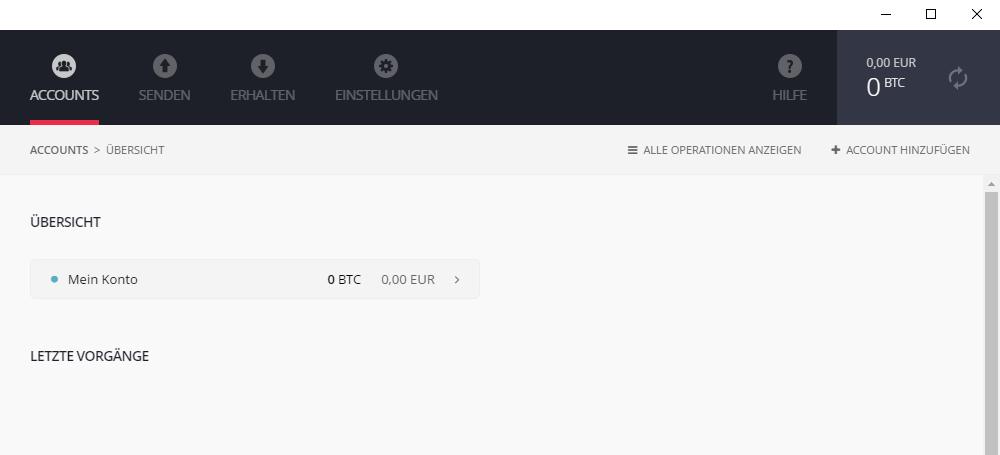 Die Ledger Brieftasche Bitcoin nach dem ersten Start