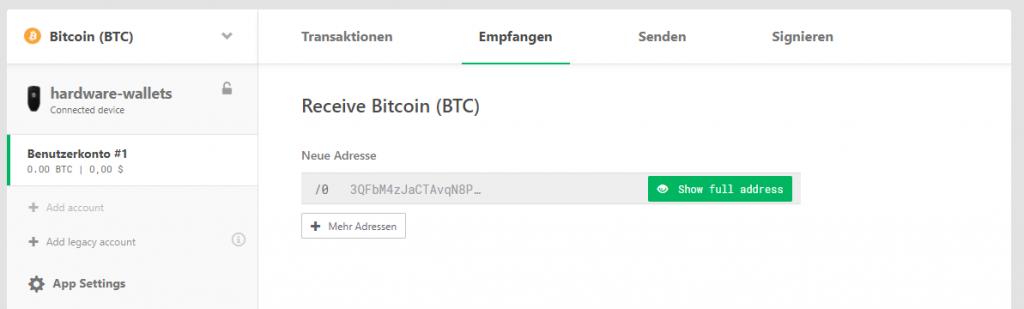 Bitcoin Empfangsadresse generieren