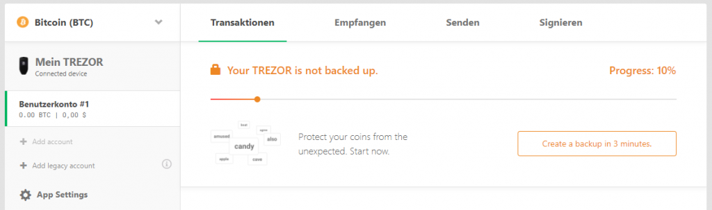 TREZOR One Progress 10 Backup