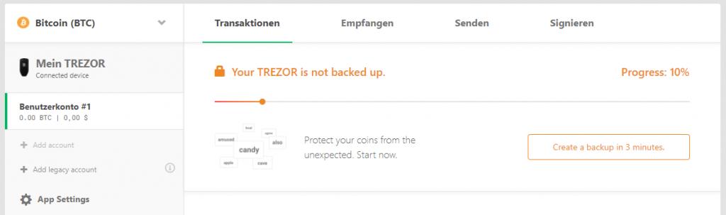 TREZOR One Progress 10 Backup