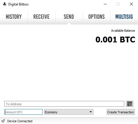 Digital Bitbox Bitcoins senden