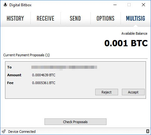 Digital Bitbox MultiSig Wallet Copay Transaktion zustimmen