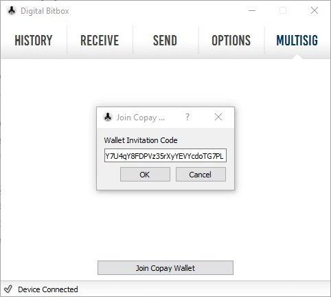 Digital Bitbox MultiSig Wallet Copay teilen Bitbox