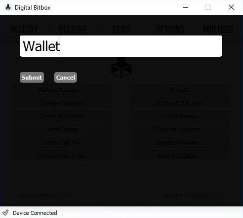 Digital Bitbox Neue Wallet anlegen
