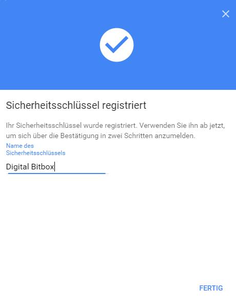 Digital Bitbox U2F google fertig