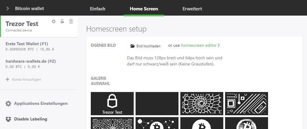 Trezor Geräte Optionen Homescreen