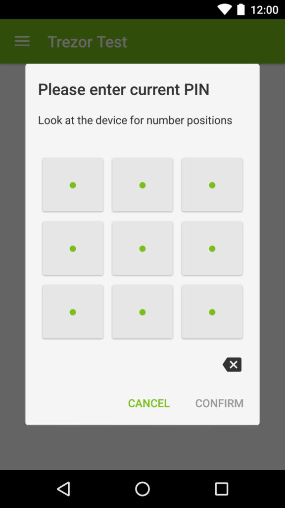 Trezor Mobil Enter PIN