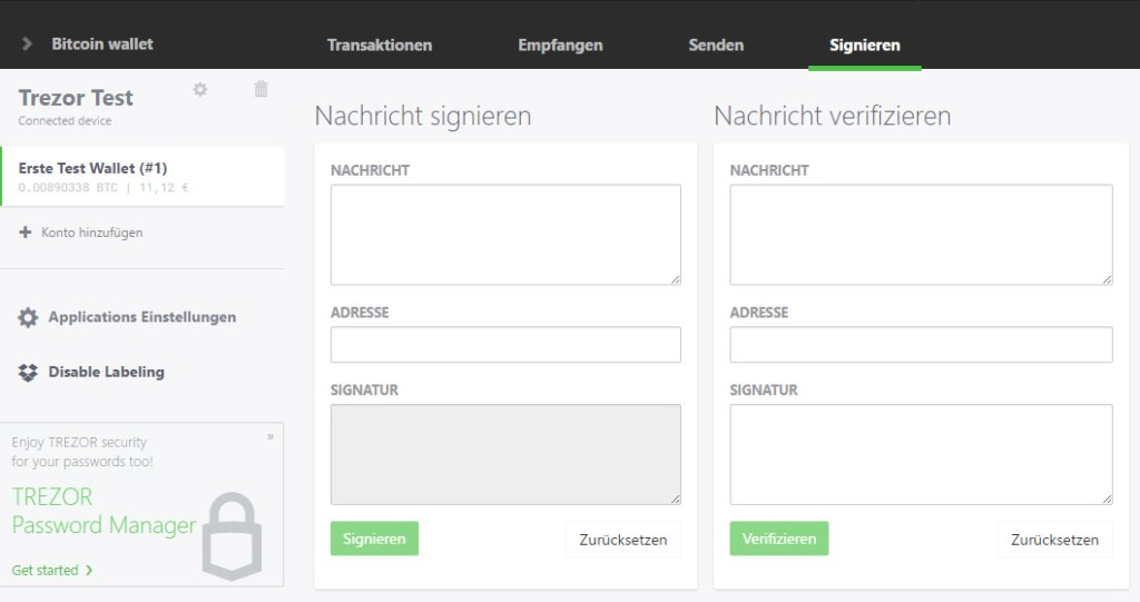 Trezor Sign Message Ansicht