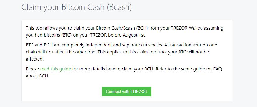 Bitcoin Cash und TREZOR