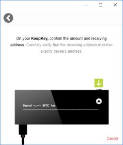 KeepKey Bitcoin Senden bestätigen