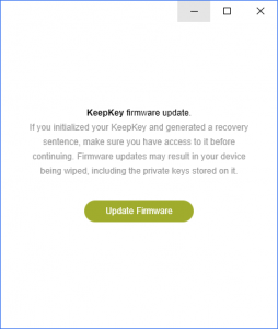 KeepKey Firmware Updae