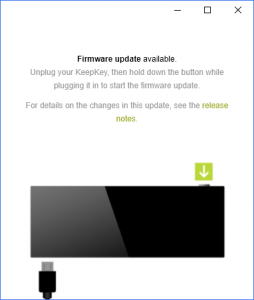 KeepKey Firmware Updae erforderlich