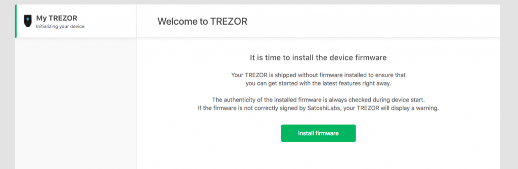 TREZOR Model T erste Firmware aufspielen
